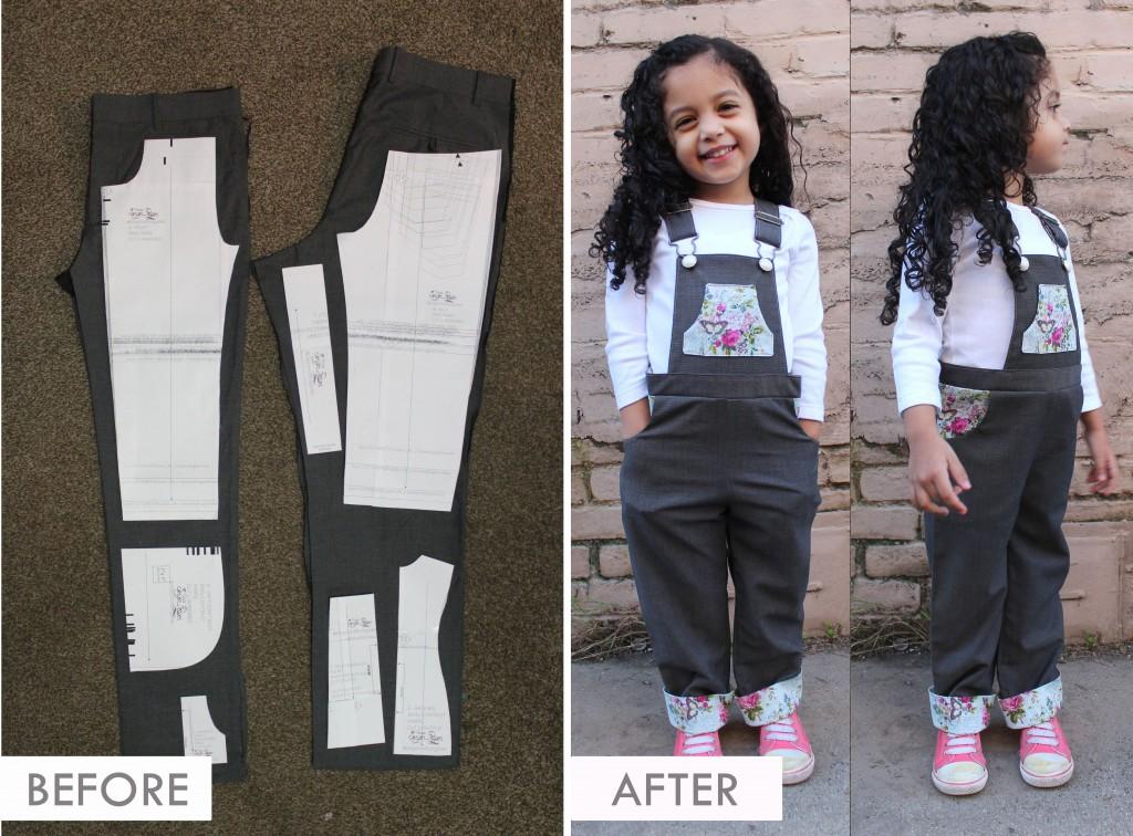 DIY UPCYCLE - Adult Slacks to Toddler Jumper Dungaree