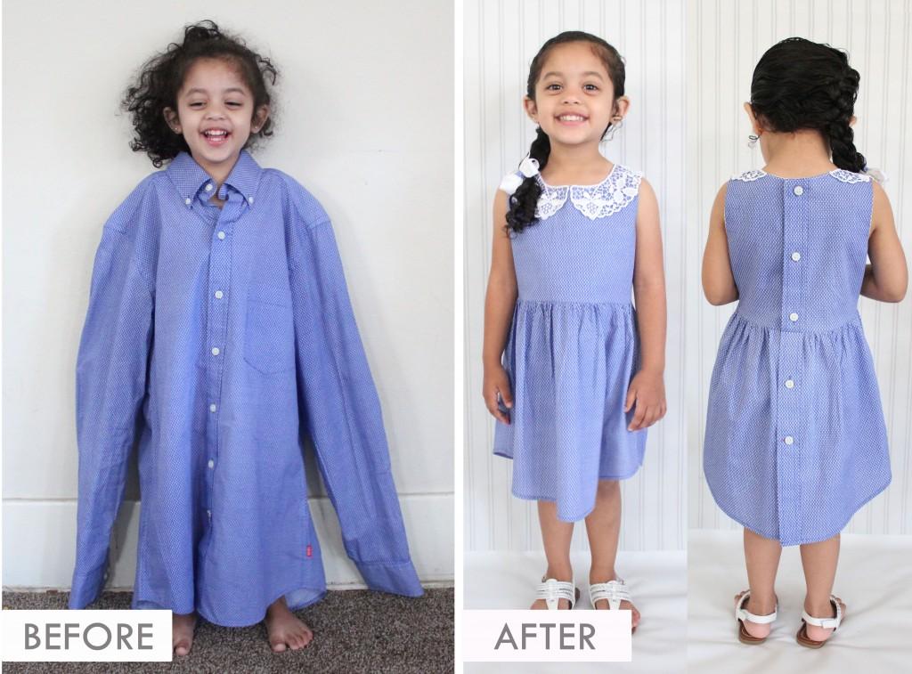 DIY UPCYCLE - Adult Work Shirt to Toddler Dress