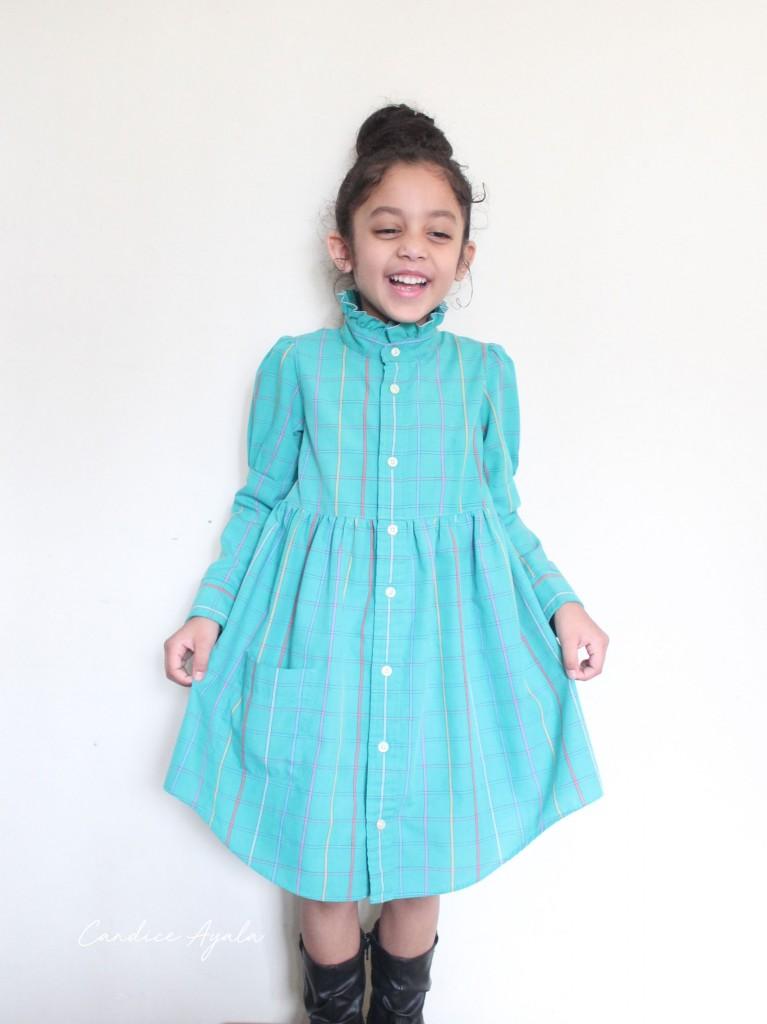 DIY Men's Shirt to Child's Dress sewn by Candice Ayala