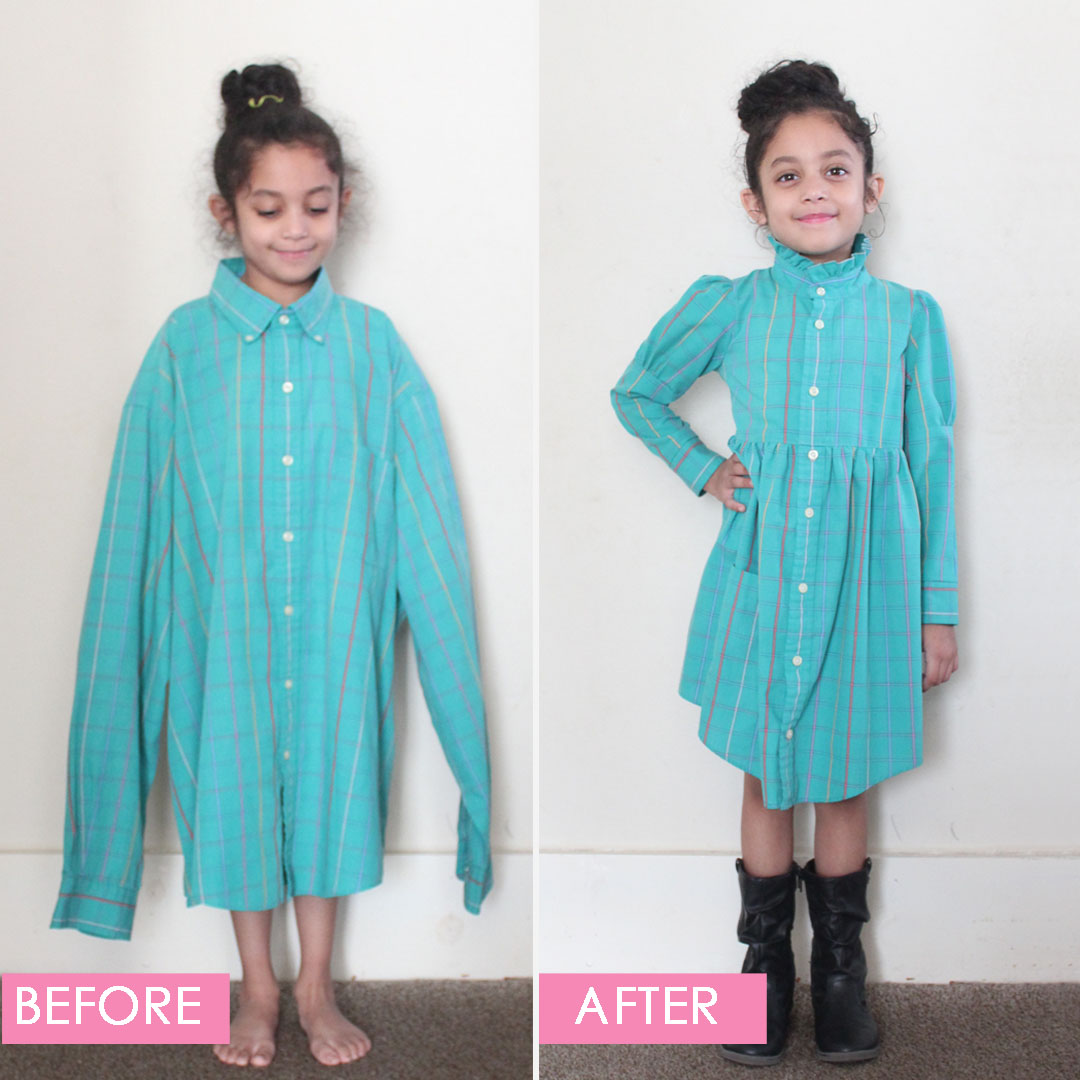 DIY Men's Shirt to Child's Dress sewn by Candice Ayala