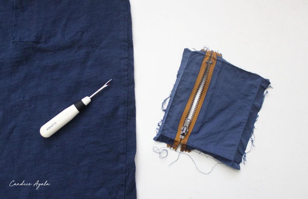 DIY Vertical Zipper Pocket Tutorial by Candice Ayala